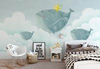 Cartoon Whales on the Sky with Starfish Wallpaper Mural