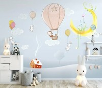 Cartoon Winterscape and Rabbit Flying Wallpaper Mural