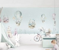 Cartoon Winterscape and Squirrels with Hot Air Balloons Wallpaper Mural