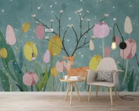 Cartoon Winterscape with Tulips and Horned Deer Wallpaper Mural