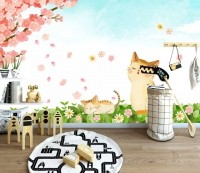 Cherry Blossom and Cartoon Cats Wallpaper Mural