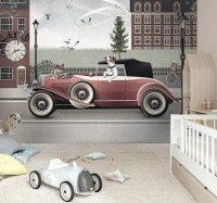 Cityscape with Doggies Wallpaper Mural