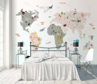 Colorful Kids World Map with Cartoon Animals Wallpaper Mural