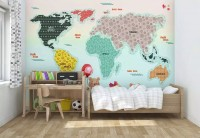 Colorful Pattern World Map Wallpaper Mural