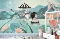 Cute Little Girl with Cat and Pink Lotus Cartoon Wallpaper Mural for Girls Room