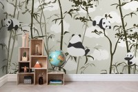 Cute Panda with Bambu Tree Wallpaper Mural