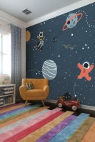 Dark Blue Cartoon Space with Colorful Planets and Little Stars Wallpaper Mural