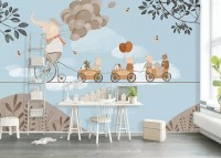 Elephant on Bicycle with Cute Animals Wallpaper Mural