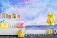 Falling Stars Nightscape Wallpaper Mural
