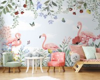 Flamingo with Colorful Floral Wallpaper Mural