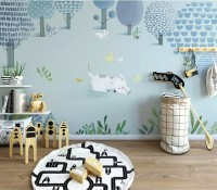 For Kids Blue Trees and Dogs Wallpaper Mural