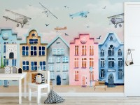 Helicopters on Colorful Amsterdam Style Houses Wallpaper Mural