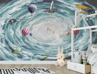 Hot Air Balloon and Airplanes on The Sky Wallpaper Mural