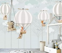 Hot Air Balloons with Animals Wallpaper Mural
