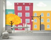 Kids Autumn Street with Yellow Trees and Falling Leaves Wallpaper Mural