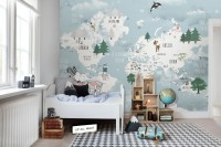 Kids Blue World Map with Cute Animals with Flying Elephant Wallpaper Mural