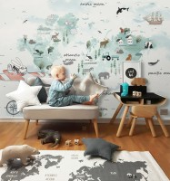 Kids Blue World Map with Cute Animals with Flying Rabbit Wallpaper Mural