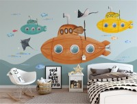 Kids Boys Watercolor Underwater with Submarine Wallpaper Mural