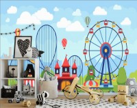 Kids Cartoon Amusement Park Wallpaper Mural