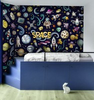 Kids Cartoon Space with Astronaut and Colorful Planets Wallpaper Mural
