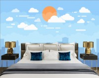 Kids City Landscape with Yellow Sun and White Clouds Wallpaper Mural