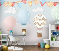 Kids Colorful Hot Air Balloon with Watercolor Flags Wallpaper Mural