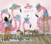 Kids Flamingo with Floral Wallpaper Mural