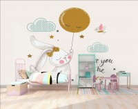 Kids Flying Bunny with Cute Moon Wallpaper Mural