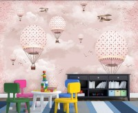 Kids Girls Pink Sky of Hot Air Balloon and Aircraft Wallpaper Mural