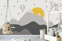 Kids Gray Geometric Mountainscape and Hot Air Balloon Wallpaper Mural
