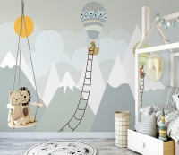 Kids Gray Mountainscape with Hot Air Balloon and Sun Wallpaper Mural