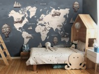 Kids Gray World Maps with Vintage Hot Air Balloon and Cars Wallpaper Mural
