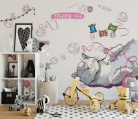 Kids Happy Cat Wallpaper Mural