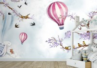 Kids Hot Air Balloon with Purple Blossom Wallpaper Mural