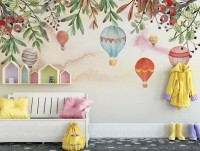 Kids Hot Air Balloon with Twigs Wallpaper Mural