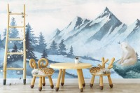 Kids Mountain Landscape with Cartoon Bear Wallpaper Mural