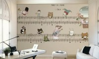 Kids Music Notes with Cartoon Animal Wallpaper Mural