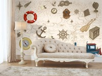 Kids Nautical Maps with Marine Sailboat Wallpaper Mural