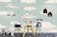 Kids Paper Plane and Animal Wallpaper Mural