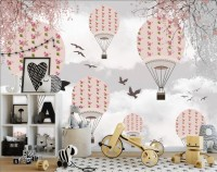 Kids Pink Hot Air Balloon and Chery Blossom Branches Wallpaper Mural