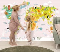 Kids Pink World Map with Cute Animals Wallpaper Mural