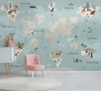 Kids Political World Map Wallpaper Mural