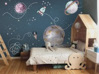 Kids Shining Space with Watercolor Bear Astronaut Wallpaper Mural