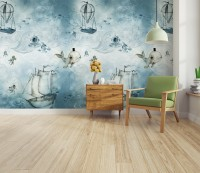 Kids Watercolor Blue Ocean World and Whale Wallpaper Mural