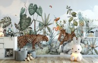 Kids Watercolor Forest with Leopard Wild Animals Wallpaper Mural
