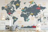 Kids World Map with Animals and Little Cars Wallpaper Mural