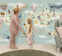 Kids World Map with Animals Wallpaper Mural