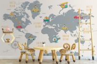 Kids World Map with Little Cars Wallpaper Mural
