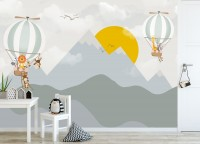 Mountain Landscape with Hot Air Balloon Wallpaper Mural