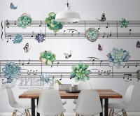 Music Notes with Little Floral Wallpaper Mural